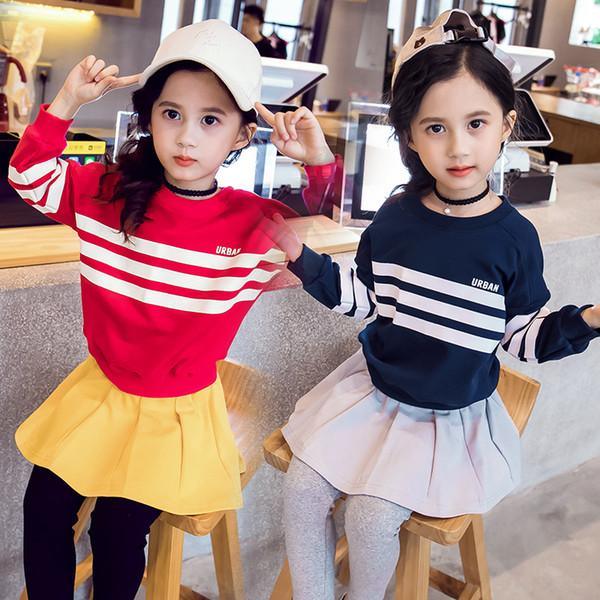 Girls Set Knitting Long Sleeved Striped Sweatshirt Pleated Skirt Girls Outfits Sweater+tutu Skirt 2pcs Set Culotte Suits CA235