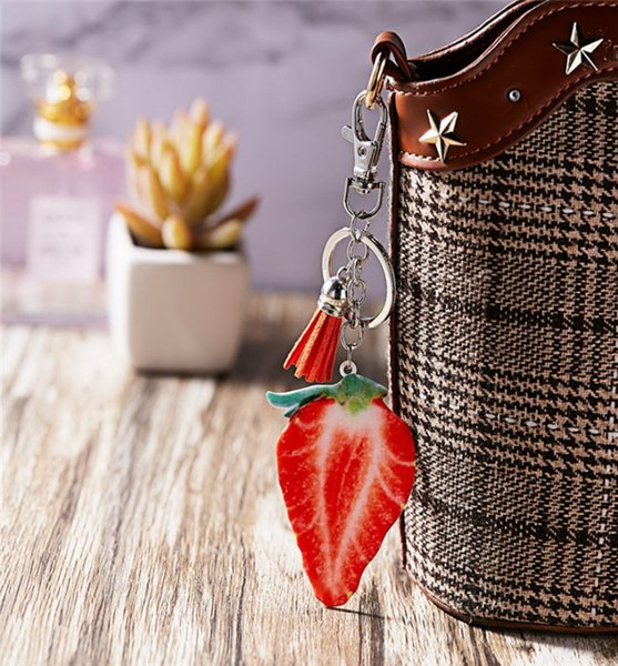 Metal Keychain Watermelon Strawberry Tomato Pineapple Cantaloupe Apple Cartoon Fruit Creative Cute Tassel Key Pendant Jewelry Wholesale