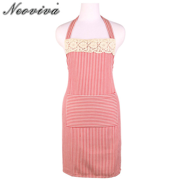 Neoviva Flirty Kitchen Apron for Women and Big Pocket Ella Woven Red and White Striped Paradise Bib Gardener Kookschort Grembiul