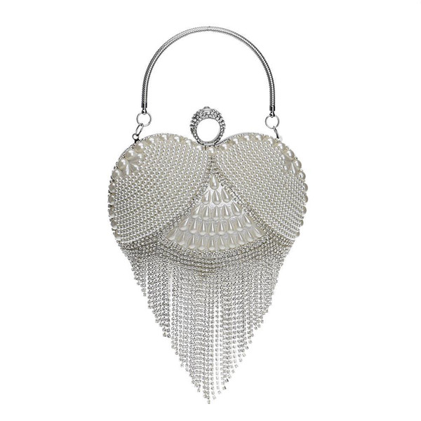 Tassel Rhinestones Evening Bag Finger Ring Diamonds Wedding Heart Day Clutch Handbags Chain Shoulder Party Pearl Christmas Gift D18110106