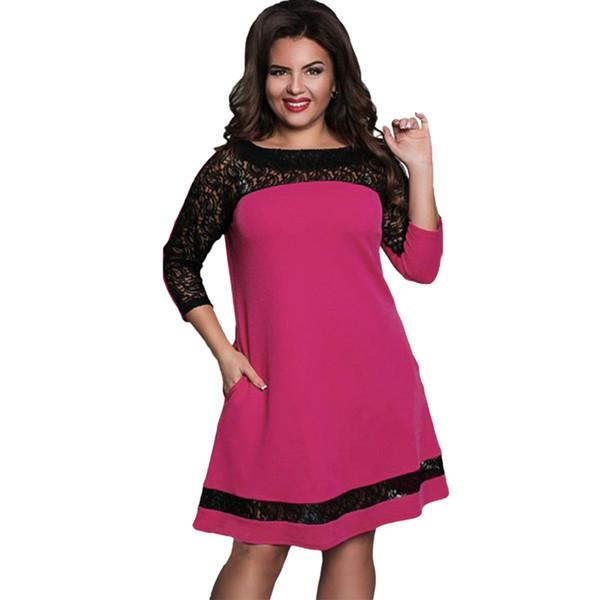 Vestido de talla grande para mujer Semi-pura Malla de encaje Vestido de contraste Midi Color de empalme Elegante Vestido de fiesta en línea para columpios Azul marino / Rosa / Rosa