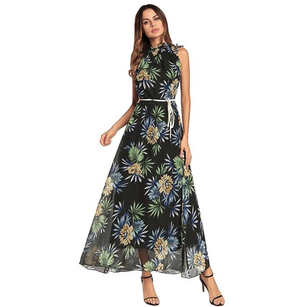 In the spring of Bohemia leisure dress turtleneck floral dress loose Chiffon Dress