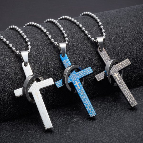 Unisex Titanium Steel Bible Ring Cross Pendant Necklace Vintage Prayer Cross Lover Couple Necklaces Christian Scriptures Ring