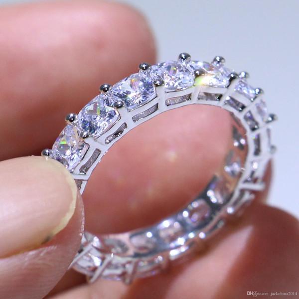 Joyería de lujo única Venta superior 925 Cojín de plata esterlina ShaPE Topaz blanco CZ Diamond Pila completa Eternidad Mujeres Anillo de boda anillo de regalo