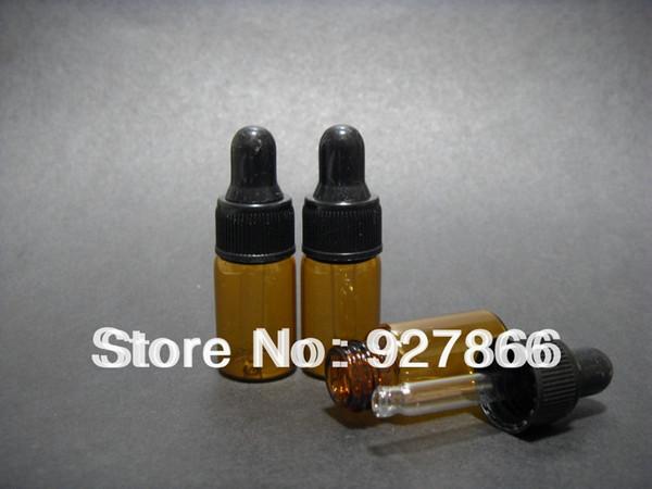 Venta al por mayor- Venta al por mayor de lotes 1000pcs 3ml Botellas de gotero de vidrio ámbar con tapa negra, botella de aceite esencial, frascos de perfumes pequeños, almacenamiento de muestreo