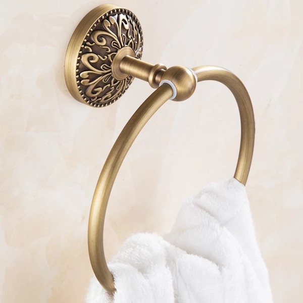 top popular 2018 carved bathroom towel rings antique gold copper finished facial towel  hand towel racks wall mounted bronze bathroom hardware 2021