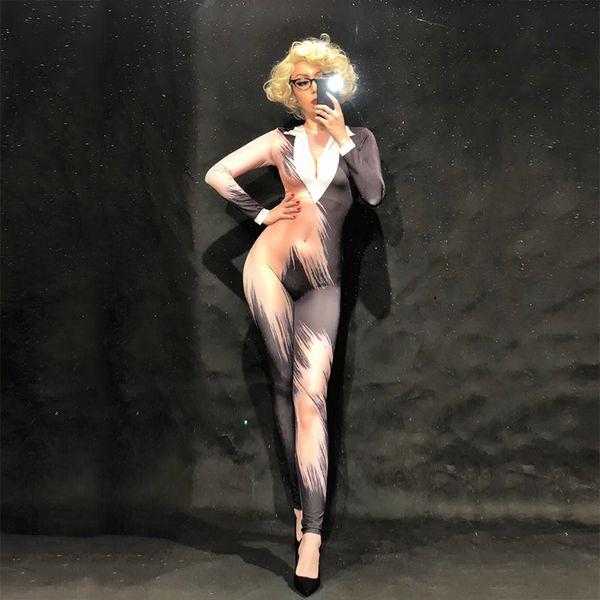 Women Office Attire 3D Printing Sexy Jumpsuit Nightclub Party Bodysuit Stage Wear Dancer Singer Dj Ds Performance Clothing