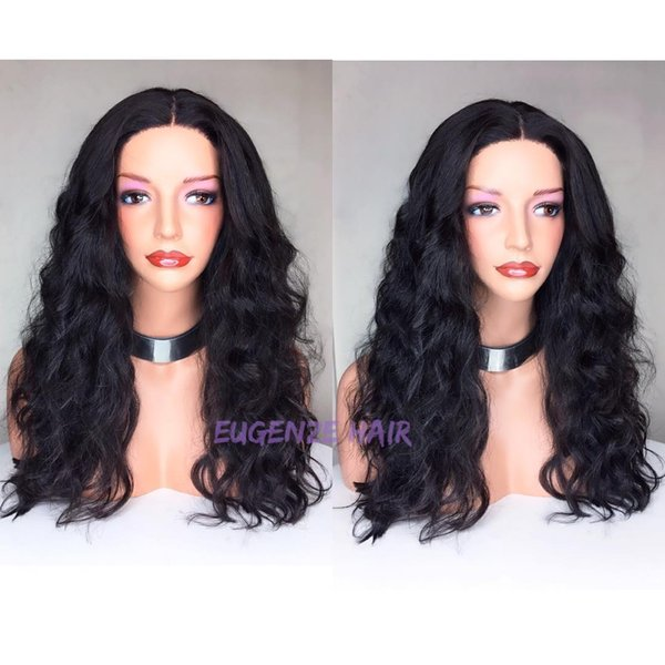 Pretty grade 100% unprocessed raw virgin remy human hair long natural color natural wave full lace cap wig for women