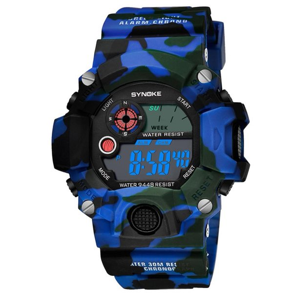LCD Digital Electronic Movement Watch Men Outdoor Sports Watches Camouflage 30 Meters Waterproof Chronograph Compass Wrist Watch