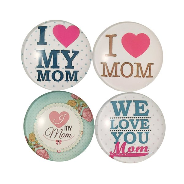 5pcs/lot Love Mom 1PC Glass Cabochon Round Quote Fridge Magnet Refrigerator Sticker Christmas Home Decoration Message Holder Wholesale