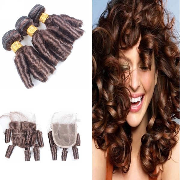 Top Lace Closure with 3Pcs Aunty Funmi Hair 3Bundles Peruvian Virgin Human Hair Funmi Spiral Romance Egg Curl 4Pcs Lot