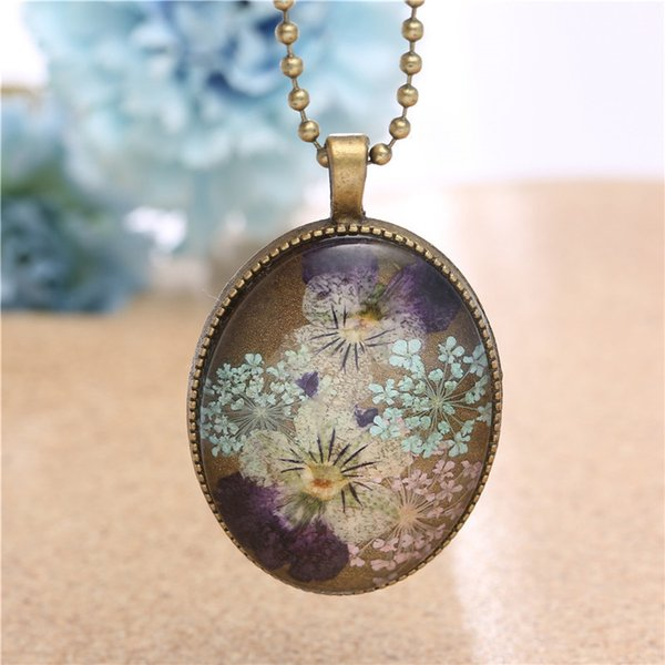 Ornamenti popolari Fiori secchi naturali Pansy Eternal Life Collana regalo FIORE Pendeloque Cut Goods
