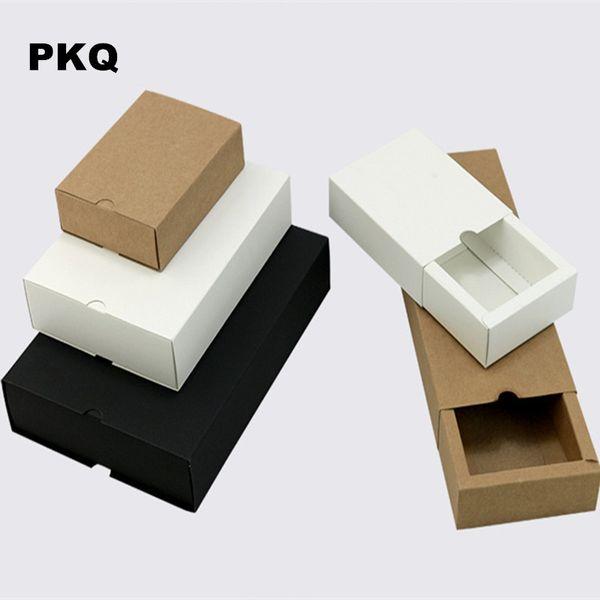 Freies Verschiffen Hochzeitsfestbevorzugungen Geschenk Box weiß kleine Kraft-Box für Seife Schmuck DIY Schublade Papierkästen für die Verpackung 50pcs