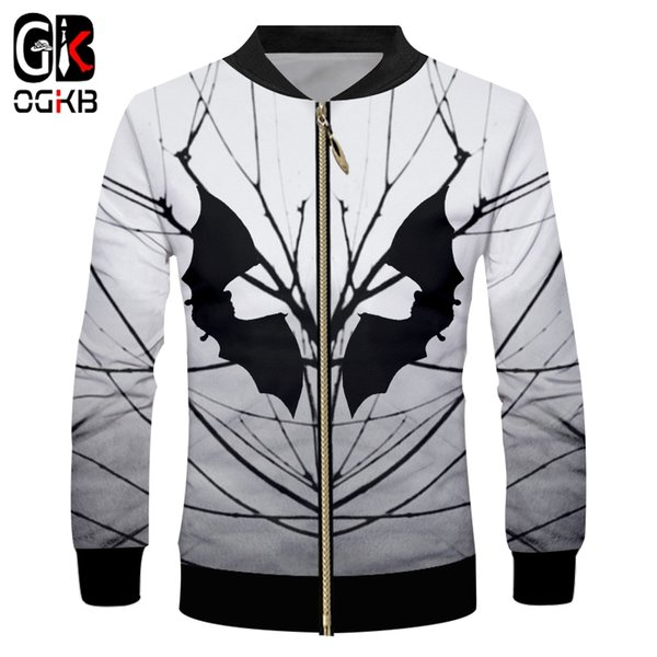 OGKB New 3D Printed Dark Night Bat Animal Open Country Branch Halloween Man Clothing Oversized 5XL Men's Zip Jacket