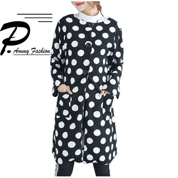 Frauen Plus Größe Polka Dot Langarm Mid-Long Trench Coat 2017 Damen Oversized Sweatshirts Big Tasche lose Strickjacke Kleid