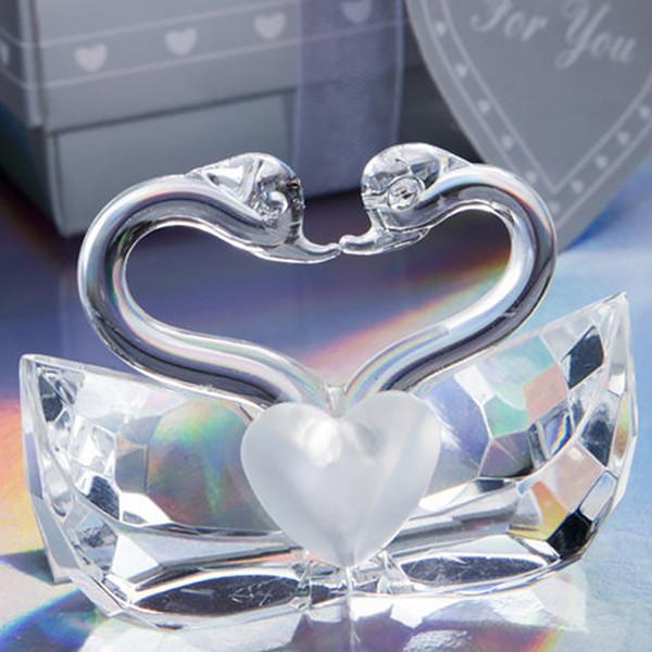 Romantik Düğün Iyilik Ve Hediye Kristal Öpüşme Kuğular Figürinler Gelin Duş Iyilik Kristal Kuğu Ücretsiz DHL 863