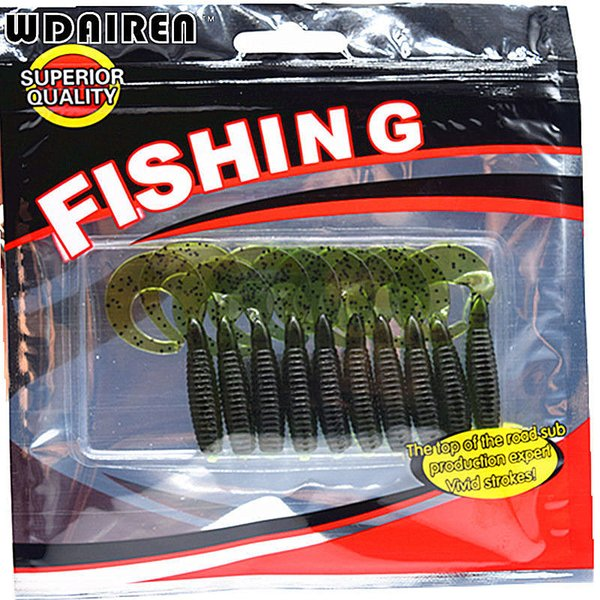 10pcs/lot Screw curly tail soft 55mm 2.2g wobbler jigging with salt smell Capuchin Maggots fishing lure silicone bait FA-340 Y18100806