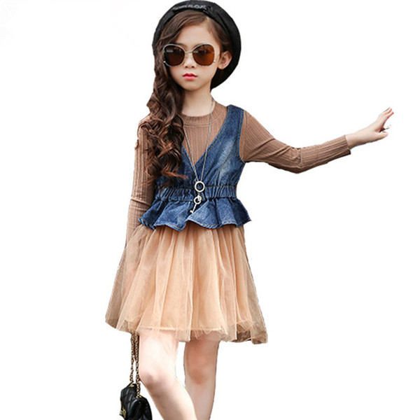 Children clothes sets girl dress cowboy vests long-sleeved veil dresses girls clothes Baby fashion two-piece kids Outfits spring