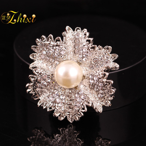 ZHIXI Fine Perle Bijoux Fleur Broche Pin Réel D'eau Douce Broches Pour Les Femmes Blanc 9-10 MM À La Mode Fleur Cadeau B154