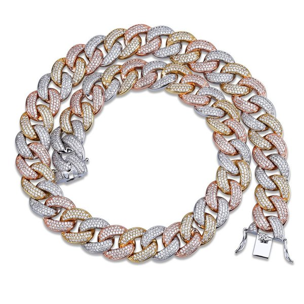 18mm Miami Cuba Chain Men Luxury Hip Hop Bracelets Necklaces Set Ice Out Bling Cubic Zirconia 18K Gold Silver Hiphop Link Chains