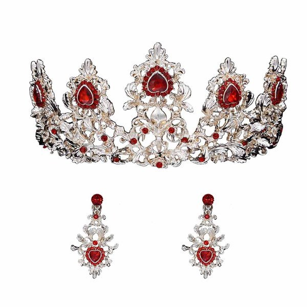 Women Crown Earrings Crystal Vintage Princess Tiara Wedding Bridal Jewelry Set KQS8