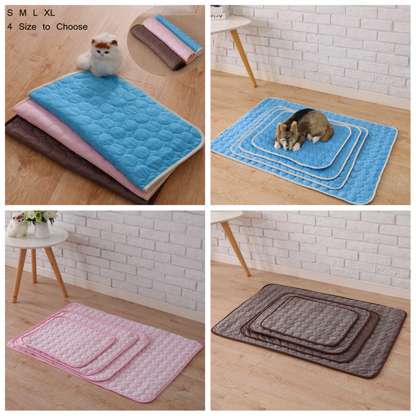 Pet Dog Cat Summer Cooling Mat Car Seat Sofa Floor Mats Cold Pad Ice Cushion Anti Damp Foam Blanket Sleeping Bed AAA812