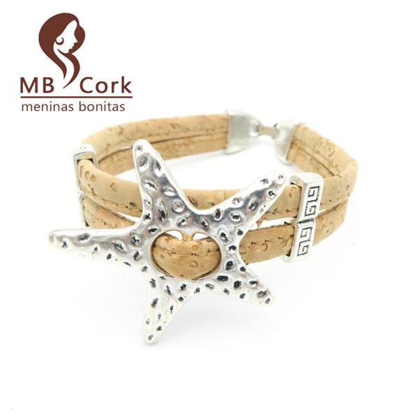 Toute venteNaturel cork étoile de mer étoile de mer cork 17cm bracelet femmes Vintage bracelet naturel fait main bijoux vegan Brithday cadeau Br-96