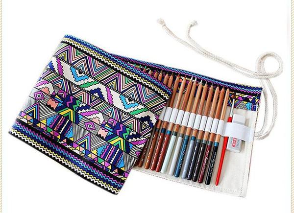 36/48/72 Holes Pencil Case School Canvas Roll Pouch Comestic Makeup Brush Case Pen Storage pecncil box Estuches School penalty