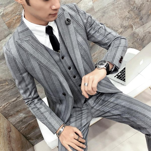 Pinstripe Suits Mens British Style Suits Mens Gentleman Wedding for 2018 Grey Tuxedo Social Terno Masculino Slim Fit