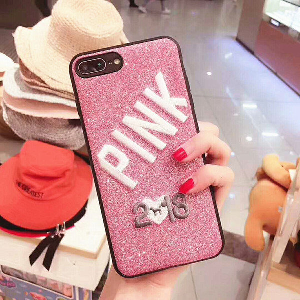 2019 Love Pink Funda para teléfono celular Brillo 3D Bordado Carta suave de TPU + PU + Cubierta de bordado para iPhone6,6plus, iphone7,7plus, iphone8,8plus, iph