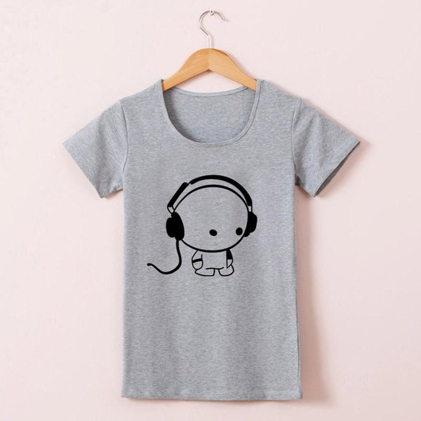 Wholesale-New Hot Tees Short Sleeve Cotton T Shirts Women Girls Funny Lovely DJ Music Design High Quality Cotton Crew Neck Short Sleeve