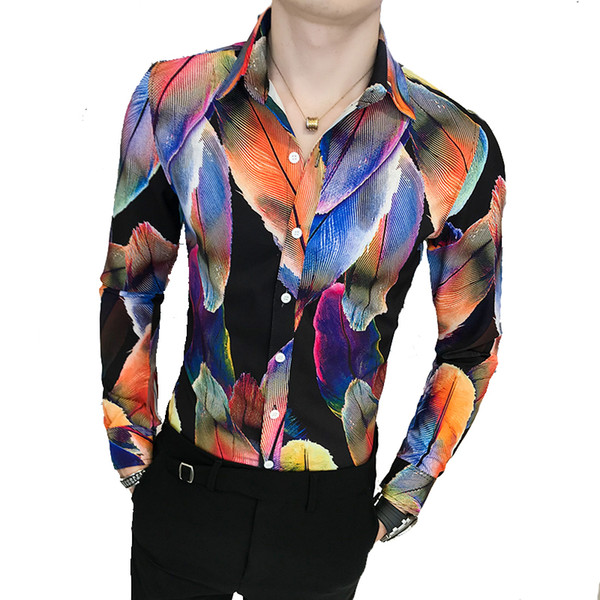 2018 Men's Slim Fashion Brand Colorblock Long Sleeve Shirt Male High Quality Cotton Comfortable Slim Party Club Dress Shirt
