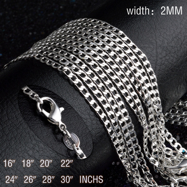 16~30inches Plated silver 2MM men women chain unique cute nice Valentine gifts exquisite fashion wedding necklace jewelry