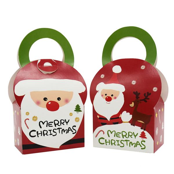 Kawaii Christmas.Pack Kawaii Christmas Gift Box Christmas Santa Claus Candy Box Bag Merry Christmas Package Apple Boxes Portable Wholesale Boys Birthday Wrapping