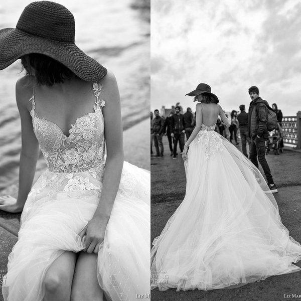 2019 Liz Martinez Beach Wedding Dresses with 3D Floral SpaghettiTiered Skirt Backless Plus Size Elegant Garden Country Toddler Wedding Gowns