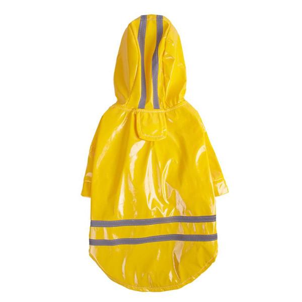 LUOEM Fashion Pet Rainy Days Slicker Pet Rain Light-reflecting Jacket Dog Hooded Raincoat Yellow