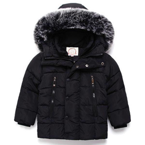2018 Fur Hood Jacket for Girls Children Snow Wear Parka Thick Cotton-Padded Winter Jacket for Children Christma Winter Coat