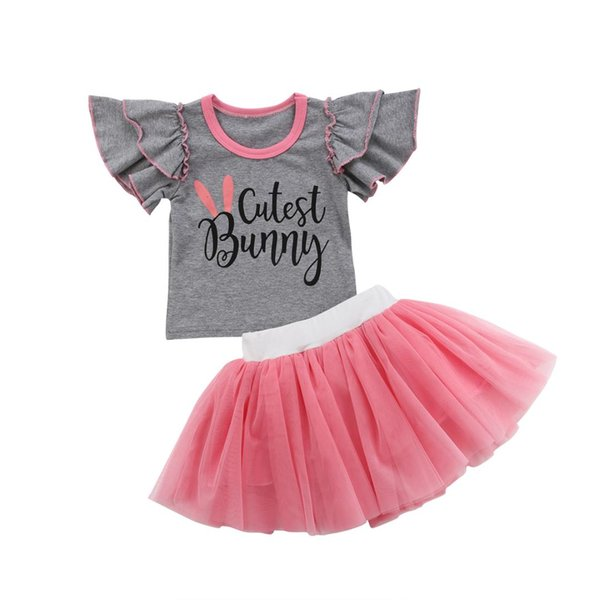 df2718110a36 Toddler Baby Girl Cutest Bunny Fly Sleeve Gray Letter Tops T-shirt Pink  Lace Skirt Bottom Dress Outfit Clothes 2Pcs