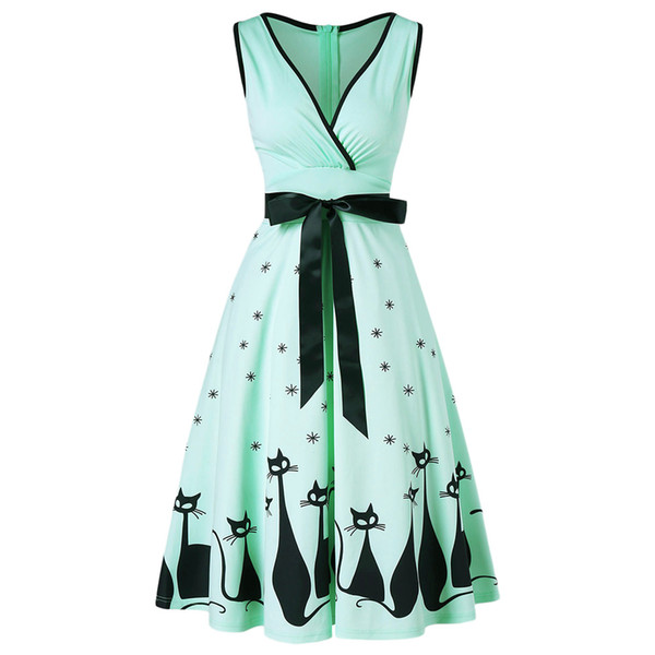 Wipalo V Neck Cat Print Midi Surplice Dress 1950s Retro Cat Print Midi Pin Up Fit And Flare Dress Swing M-2XL