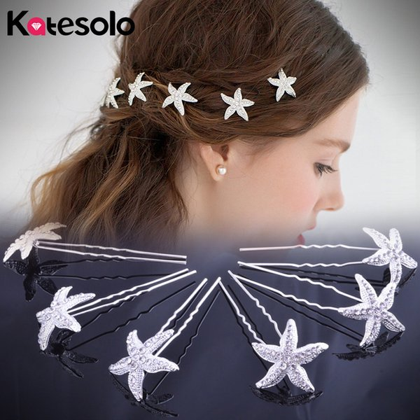 Hot Wholesale 10Pcs/Lot Rhinestone Hairpin Brides Tiara Starfish Hair Pins Clip Crystal Wedding Hair Jewelry Accessories S918