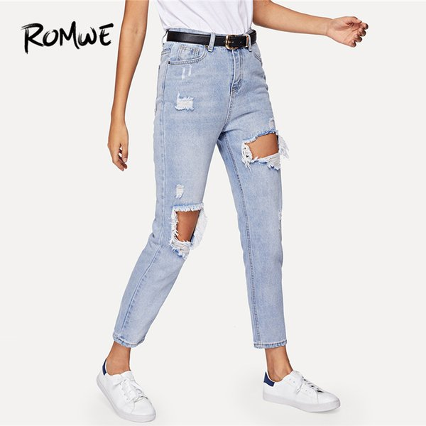 Jeans Woman Cut Out Ripped Jeans For Women Blue Denim Trousers 2018 Fall Clothes Plain Pants Zipper Mid Waist Ladies