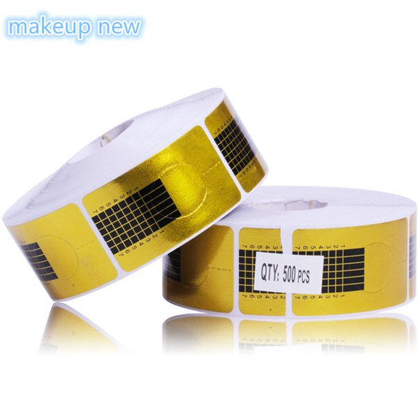 500 pcs/Roll Square Golden Nail Form Stickers, Gel Tip Extension Nail Tools, Paper Holder Beauty Accessories sticker