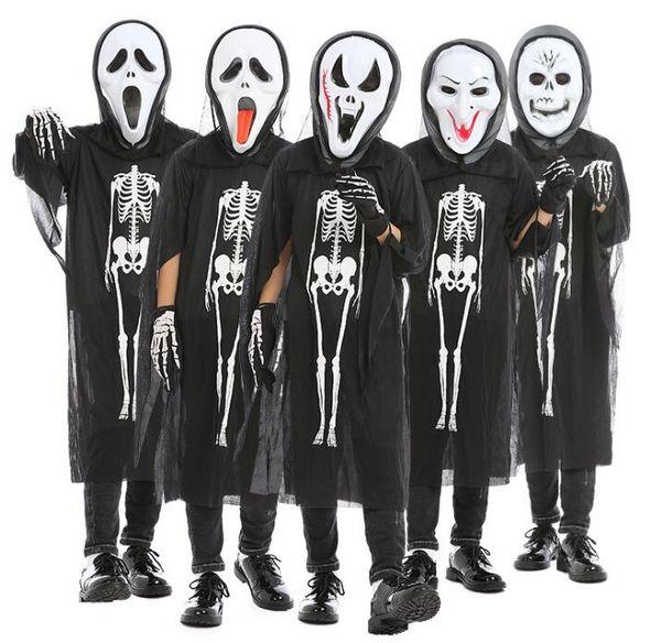 best selling Kids Skull Skeleton Ghost Clothes + Skull Devil Mask Gloves Cosplay Costume Men Women Kids Halloween Carnival Masquerade