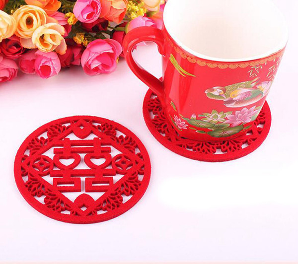 Chinese Style Coasters Non-woven Double Happiness Pads Wedding Supplies Anniversary Present Wedding Favors Cup Mats