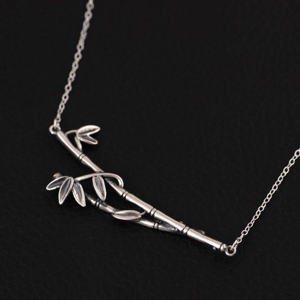 New arrival Fashion charm women's 925 Sterling Silver Vintage handmade bamboo Silver Necklace chain wholesale boho fine jewelry tibetan