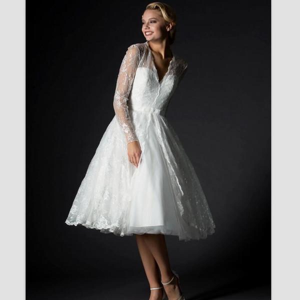 Elegant Long Sleeves Beach Wedding Dresses 2018 New Robe De Mariage Simple Tea Length Bridal Dresses Sexy V Neck White Lace Wedding Gowns