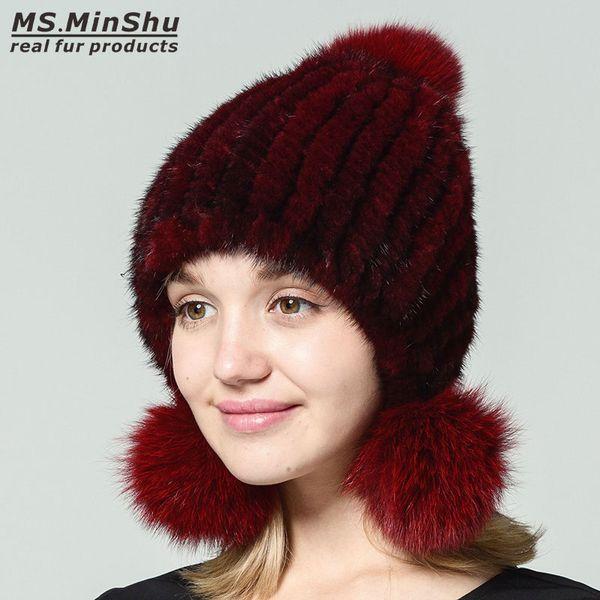 Genuine Mink Hat Women Winter Fur Hat with 3 Balls Real Fur Cap Fashion Ladys Bobble Beanies Fox Fur Balls Ms.MinShu