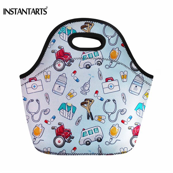 INSTANTARTS Cartoon Nurse Printed Women Hiking Outdoor Picnic Tote Bags Childrens Cooler Box Neoprene Insulated Hangbags
