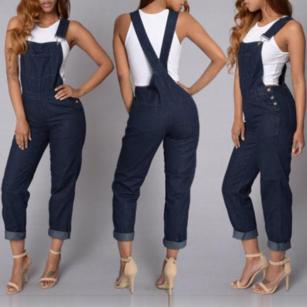 Fashion Women Denim Jumpsuit Ladies autumn Fashion Sleeveless Jeans Rompers Female Casual Overall Playsuit