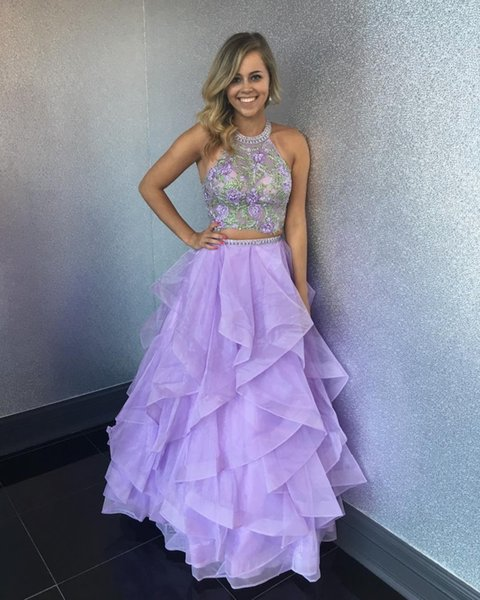 Großhandel Light Purple Zweiteiler Prom Kleider High Neck ...